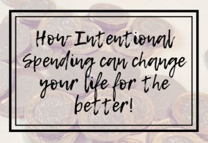 image with coins in the background and the words How intentional spending can change your life for the better!